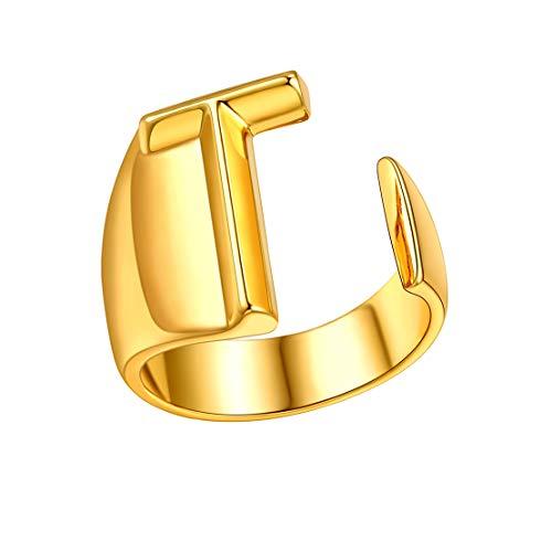 FindChic Iniziale T Anello Anallergico Placcato in Oro 18k Anello Lettera per Le Donne Anello Iniziale Lettera Personalizzata Lettera Anello Anello Alfabeto Classico monogramma