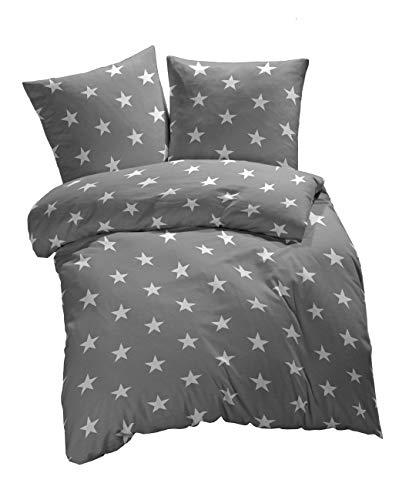 etérea Baumwolle Renforcé Bettwäsche - Sterne, Galaxy Bettwäsche - weich und angenhem auf der Haut, Bettbezug Stars, 2 teilig 135x200 cm + 80x80 cm, Grau