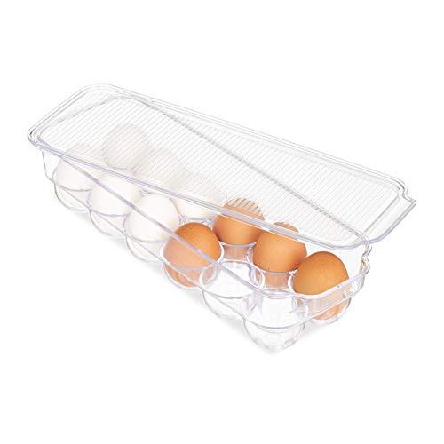 Relaxdays Eierbox, für 12 Eier, mit Deckel, stapelbar, pflegeleicht, Kühlschrank Eierbehälter, Kunststoff, transparent