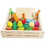 ponny 17 piezas de alimentos frutas y verduras juguetes niños cocina simulación juguete corte madera conjunto con caja de almacenamiento de madera