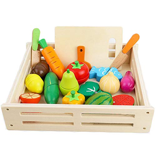 ponny 17 PCS Giochi di Legno Frutta di Legno da Tagliare Cibi Giocattolo Ruolo Cucina per Bambini con Box Contenitore