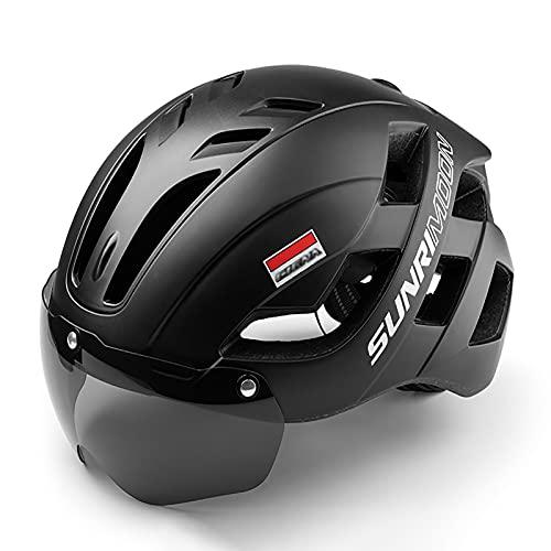 LYQCZ Casco Bicicleta, Casco Seguridad Casco Bicicleta Adulto con Visera Y Forro Desmontable Especializado para Ciclismo De MontañA Motocicleta Seguridad Superligero Ajustable(Color:Black)