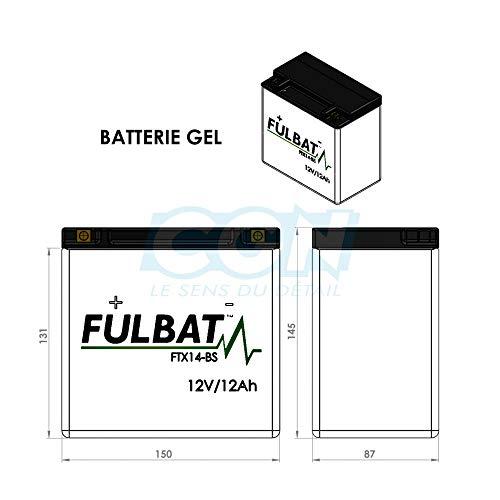 Fulbat - Batería moto Gel YTX14-BS/FTX14-BS 12V 12Ah