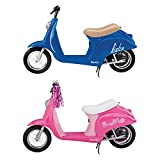 Razor Pocket Mod Miniature Euro 24V Electric Retro Kid Ride On Scooter 2-Pack, Blue & Pink