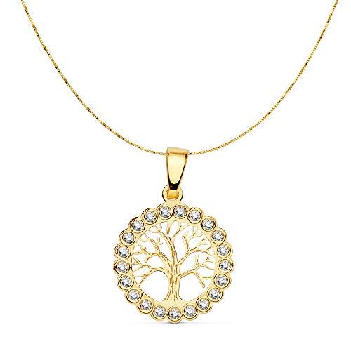 18k Gold Halskette Tree of Life 15 mm. Kette 42cm. [AC0908]