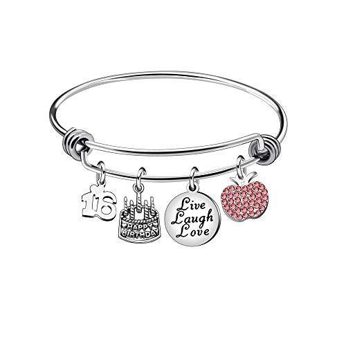 Awyuan 13 16 18 21 30 40 50 60 65 Ans Cadeaux d'anniversaire pour Femme Bracelet en Acier Inoxydable Bijoux (16)