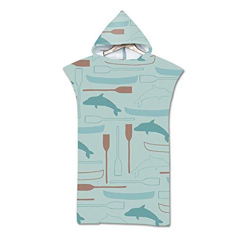 Treer Poncho Toalla con Capucha Adulto Natación Playa Verano Surf Albornoz para Cambiarse de Ropa Toalla de Microfibra Albornoces Nadar Playa Baño, Impresión (Delfín)