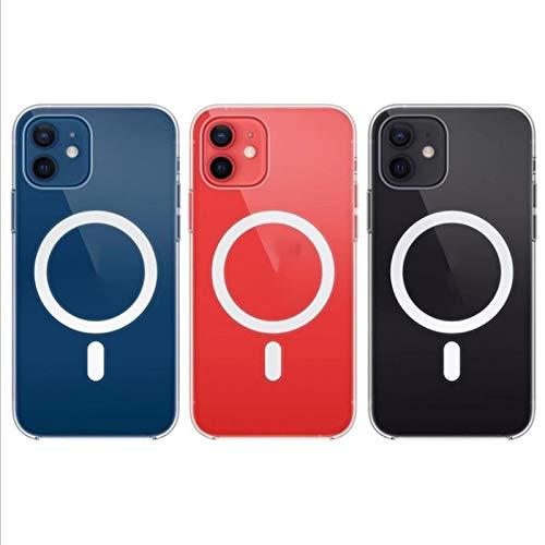 XYJP Diseñado para iPhone 12 Pro, Estuche De Silicona Magnética De Vidrio, No Amarillea, Estuche Protector para Teléfono A Prueba De Golpes Estuche Delgado Delgado 5G, 6.7Transparent-12 Pro MAX