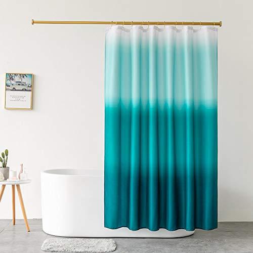 DeKeLaiFu Wasserdichter Polyester-Duschvorhang mit blauem Farbverlauf, abstrakter Ombre-Duschvorhang für Badezimmer, strapazierfähig, wasserdicht, 180 x 180 cm (Ombre Ocean Blue)