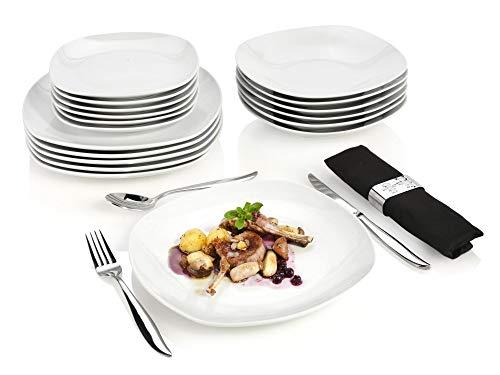 Sänger Tafelservice Bilgola – 18 teiliges Geschirr-Service für 6 Personen, weißes Teller-Set aus Porzellan mit Servierteller, Suppenteller und Dessertteller, eckige Teller mit elegantem Design