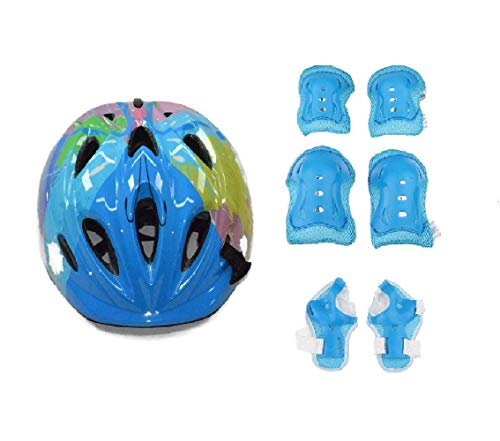 JERN® 7 Pieces Kids Children Roller Skating Bicycle Cycling Scooter Helmet Knee Elbow Pad Wrist Guard Set (Blue)