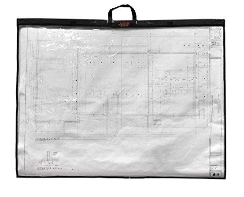 Adir Corp. PS2436 Foldable Waterproof Plans Shield - Blueprint Shield - Plans Carrier - Blueprint Carrier - Map Case - Map Shield - Document Case (24 x 36), Clear/Black