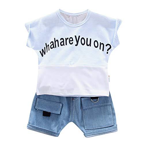 Kleinkind Jungen Streifen Brief T-Shirt Tops + Denim Kurze Hose Outfits Einstellen