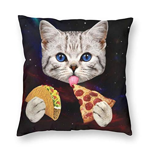 antoipyns Space Cat with Taco and Pizza 3D Printed Pattern Square Cushiondecorative Pillow Case Home Decor Square 18x18 Inches Pillowcase/Living Room/Car/Bedroom