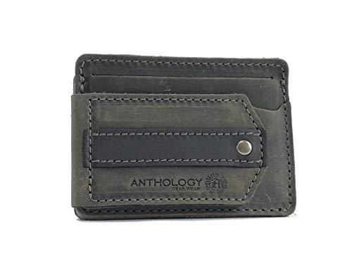 Anthology Gear Billetera compacta de piel de grano completo con soporte para púas de guitarra, color acero envejecido