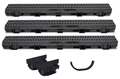 US Trench Drain, 83500-3 - 9.8 Ft (Total) Compact Series 3 Pack Kit including 2 End Caps