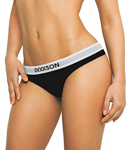 DIXXSON Damen Tanga [3 STK.] Thong Slip Baumwolle (L, Black)