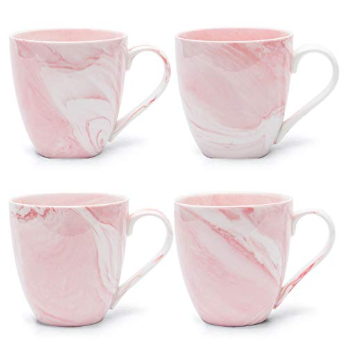 Hausmann & Söhne XL Tasse weiß groß aus Porzellan in rosa Marmorierung | Tasse 350 ml (400 ml randvoll) im 4er Set | Kaffeetasse/Teetasse | Kaffeebecher Marmor | Geschenkidee