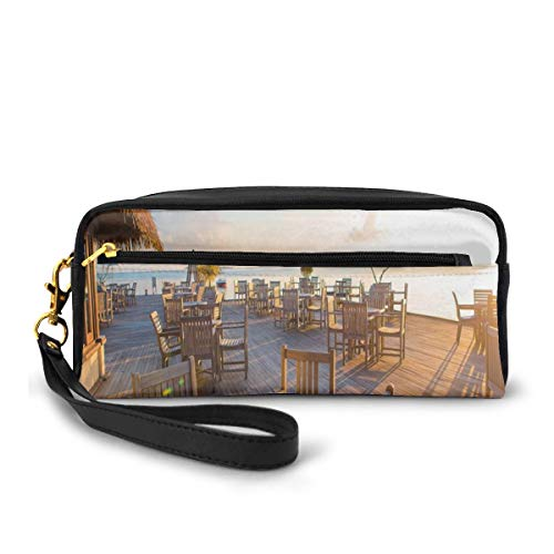 Pencil Case Pen Bag Pouch Stationary,Empty Wooden Open Air Cafe in Summer Near The Sea at Exotic Island Print,Small Makeup Bag Coin Purse