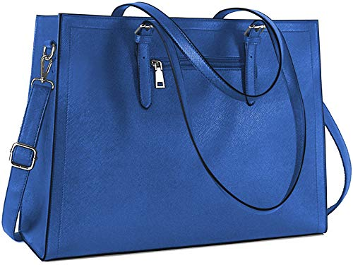 Laptop Bag for Women 15.6 Inch Classy Lightweight Leather Computer Bags Womens Office Work Bag Professional Large Shoulder Bag Tote Bag Navy Blue