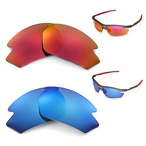 Walleva Polarisierte Ersatzgläser für Rudy Project Rydon Sonnenbrille, Feuerrot + Eisblau