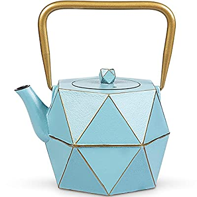 Tea Kettle, TOPTIER Japanese Cast Iron Tea Kettle with Infuser, Stovetop Safe Cast Iron Tea Kettle, Diamond Design Cast Iron Teapot Coated with Enameled Interior for 30 oz (900 ml), Blue