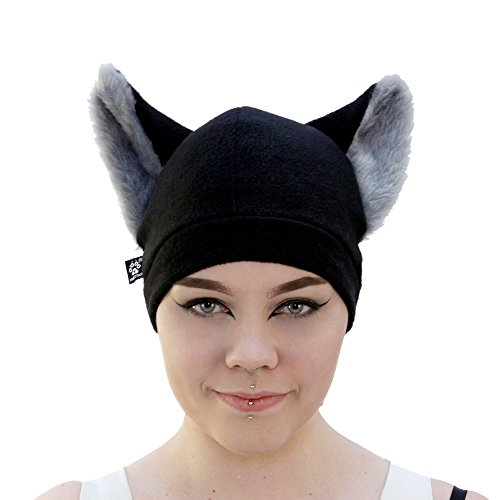 Pawstar Wolf Cub Furry Ear Fleece Beanie Hat - Gray Ears