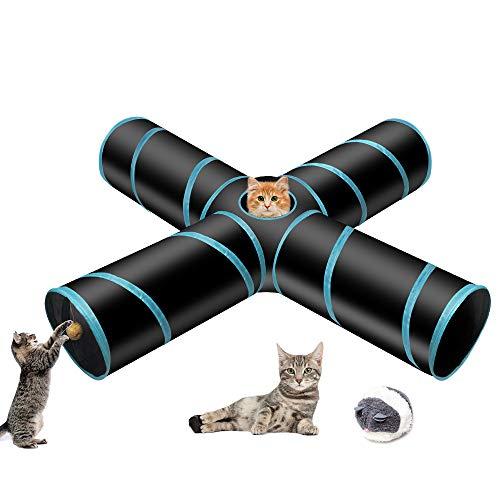 Donghoodshop - Túnel para gato, 4 vías, plegable, tubo divertido, juguete para gatos, juguetes para gatitos, juguetes de regalo con cuerda de tirón vibrar rata pequeña