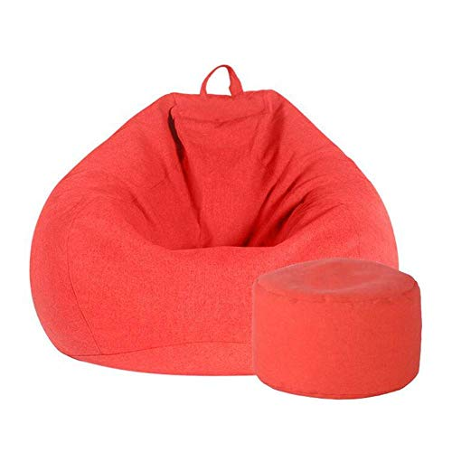 Puf con Respaldo Alto y sillón otomano, Ideal para Relajarse, Jugar, Descansar, Ideal para Adultos, Adolescentes, Muebles (Color: Naranja, tamaño: Silla + Taburete)