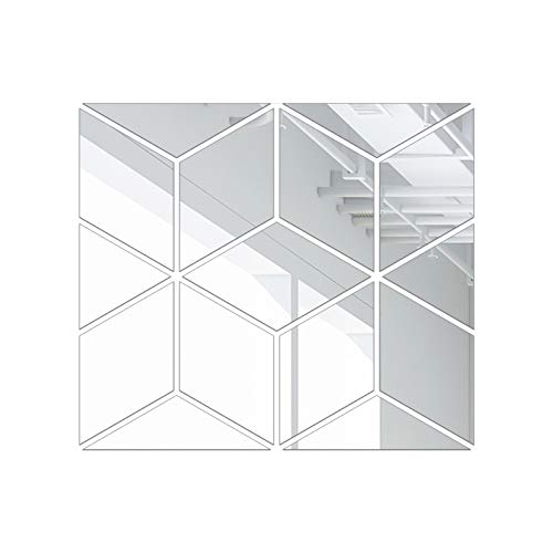 gerFogoo 3D Puzzle Mirror Decal Acrylic Wall Stickers DIY Mural Wall Stickers Home Decor Modern Fashion Art Home Wall Decoration(Silver S)