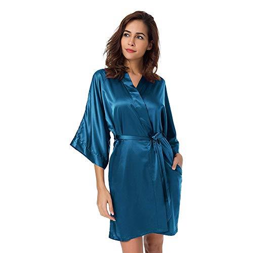 Batas de Kimono de satén para Mujer, Bata de Kimono Corta, camisón de Albornoz Sedoso con Cuello en V para Boda/Fiesta (Azul eléctrico,XL)