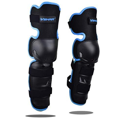 Wonzone 1 Pair Motorcycle Knee Pads Protector Antislip Knee Cap Calf Shin Guards Long Leg Sleeve Adjustable Armor for Adult Motocross Racing Cycling Mountain Bike (Blue)