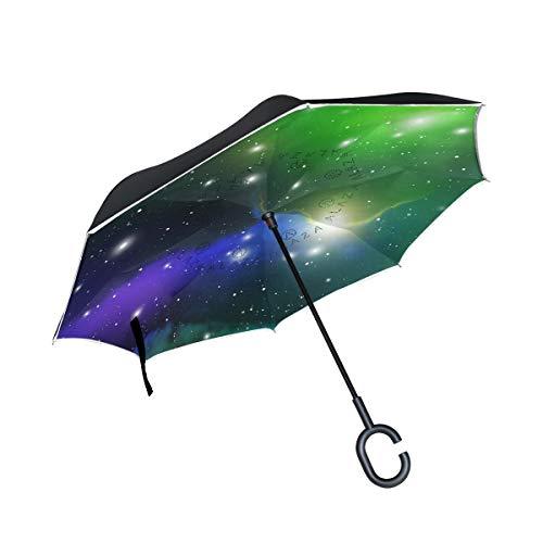 SKYDA Paraguas invertido de Doble Capa, Paraguas Plegable de Color Verde con...