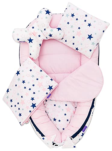 JUKKI® Babynest Comfort Baumwolle | Baby Nestchen 5 teiliges Set, Kissen, Decke, Matratze | Babynestchen Neugeborene | Kuschelnest für Babybett | Babycare Bettchen - Sugar Stars