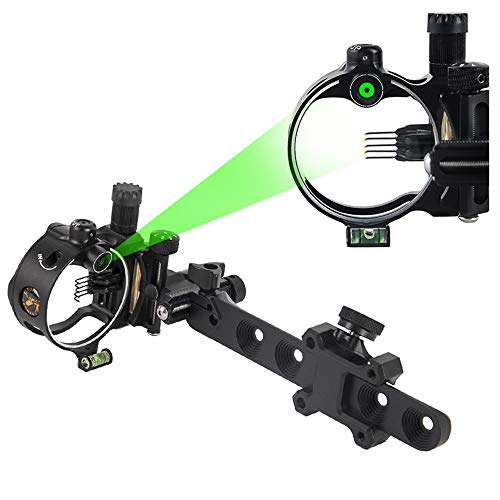 "Ace Hunter 5 Pin 7 Pin Archery Compound Bow Sight Micro Adjustable 0.019"" Optical Fiber (Black, DP9150)"