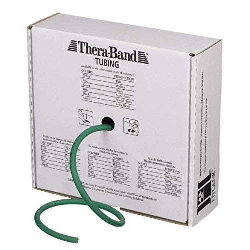 TheraBand Resistance Tubes, Professional Latex Elastic Tubing, Upper & Lower Body, Core Exercise, Physical Therapy, Lower Pilates, At-Home Workout, & Rehab, 25 Foot, Green, Heavy, Intermediate Level 1