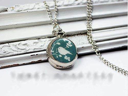 Wunderschöne Vogel-Taschenuhr mit weißer Vogel-Halskette, ein Vogel im Baum, Vintage-Stil, Silberschmuck, modischer Anhänger, Kettenuhr