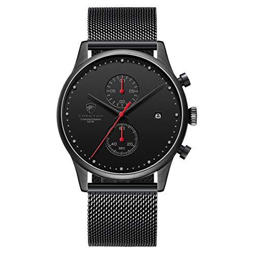 Orologio da uomo Moda Sport Orologi impermeabili con cronografo a maglie in acciaio inossidabile Orologio da polso Data analogica