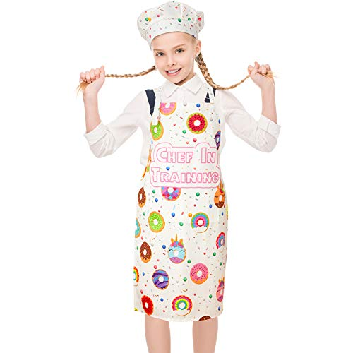 MHJY Kids Apron Chef Hat Set for Girls, Adjustable Cooking Kitchen Apron with Pockets for Baking Painting Gardening,White,Large (8-12 Years)