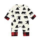 Infant Toddler Baby Girls Boys Fall Winter Clothes Romper Cartoon Bear Letter Plaid Jumpsuit Outfits 6-24 Months (18-24 Months, Beige)