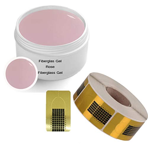 UV Fiberglas Gel ROSE KLAR 30 ml INKL. 500 Modellierschablonen SET - Finishgel Aufbaugel Haftgel - 1-Phasengel Nails