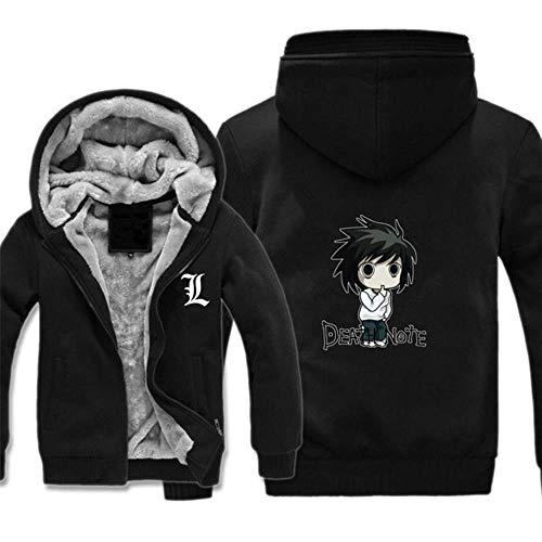 GuiSoHnh Herren Sweatjacke Hoodie 3D Drucken Death Note Anime Cosplay Warme Winterjacke Kapuzenjacke mit Reißverschluss und Fleece-Innenseite L