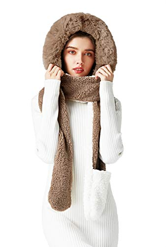 Bellady Womens Soft Thick Warm Fleece Long Hooded Scarf with Gloves,Khaki White