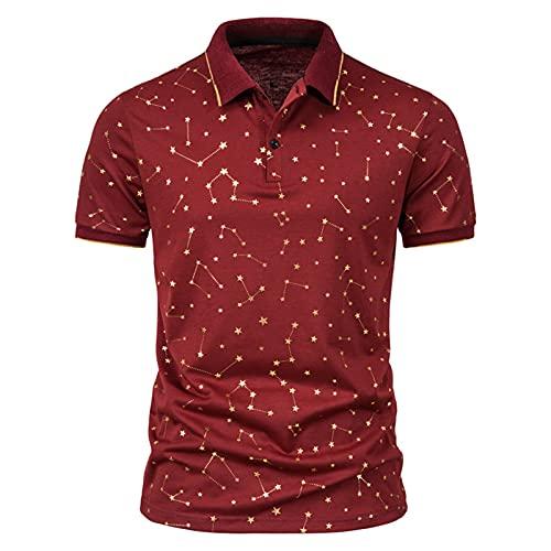 Yowablo Top Chemisier Chemises Hommes Summer Star Chain Bronzing Print T-Shirt à Revers à Manches Courtes (3XL,1rouge)