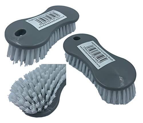 Cepillo de plástico con mango de fácil agarre, paquete de 3 cepillos de cerdas duras rígidas para limpiar y fregar suelos, alfombras, cocina, baño y lavado