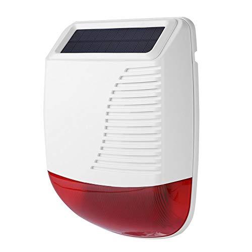 ASHATA Sistema di Allarme Senza Fili, Sirena Esterna Solare Wireless 433MHz Sirena di Allarme con Luce Solare Lampeggiante, Esterna Impermeabile Sistema di Allarme Acustico per Home Office