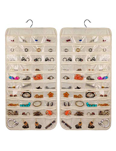 Hanging Jewelry Organizer Non-Woven Double Sides 80 Clear Pockets Jewelry Wall Organizer for Storing Jewelries Earrings Necklaces Makeups Hair Accessories organizers in Closet Travel Beige