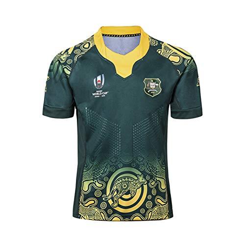 Rugby-Trikot 2019 Australian Weltmeisterschaft Rugby Jersey,Australian Home/Away Für Männer Kurzarm-Freizeit-T-Shirt-Trainingsanzüge Green-XXXL