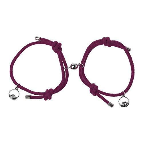 2 Stück Set von Liebenden Paarung Freundschaft Armband Seil geflochtenes Paar magnetisch-Weinrot