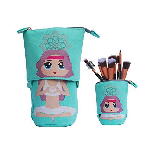 Telescopic Slidable Yoga Girl Case for Stationery Pencils Pens Makeup iPhone/Android Phones Gadget Accessories Pouch (Mint Green)